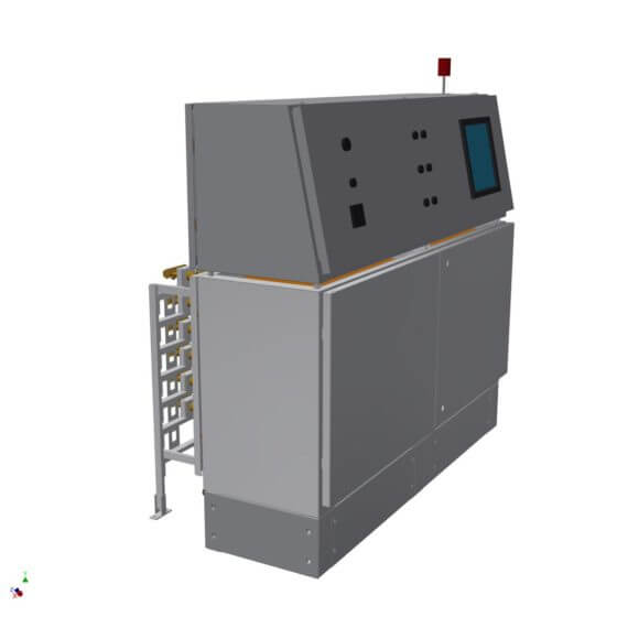 Gas mixing system (control desk design) for the safe and reproducible generation of 8 fuel gas mixtures from hydrogen and oxygen for flame polishing of high-quality glass containers (perfume vials and cream jars etc.)