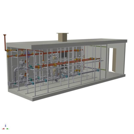 Dynamic gas mixing system in a container with redundant process control system, gas analysis and gas mixing lines for the generation of 2 x 1700 Nm³/h H2/N2 shield gas to supply the float glass bath