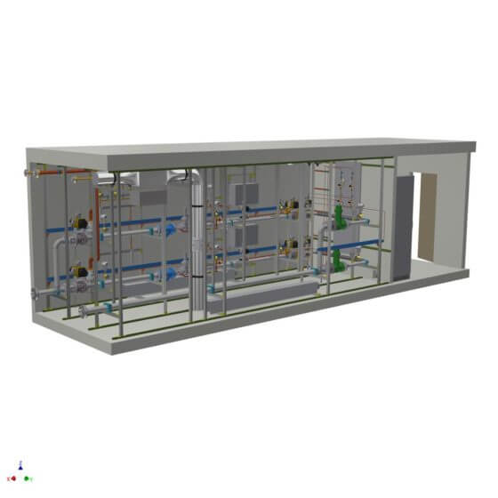 Dynamic gas mixing system in a container with redundant process control system, gas analysis and gas mixing lines for the generation of 2 x 1200 Nm³/h H2/N2 shield gas to supply the float glass bath