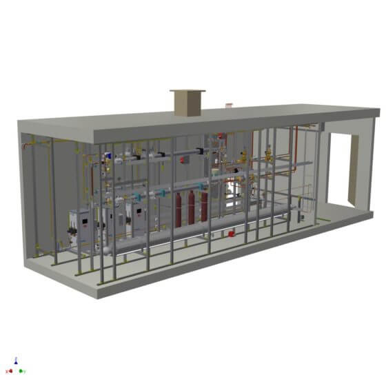 Dynamic gas mixing system in a container, including process control system and gas chromatograph; for the production of natural gas gas mixtures from NG, Propane, CO2, N2 with a performance of 700 m³/h at 40 bar for supply of a large scaled compressor test bench