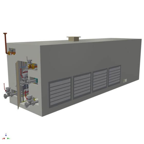 Dynamic gas mixing system in a container with redundant process control system, gas analysis and gas mixing lines for the generation of 2 x 1600 Nm³/h H2/N2 shield gas to supply the float glass bath
