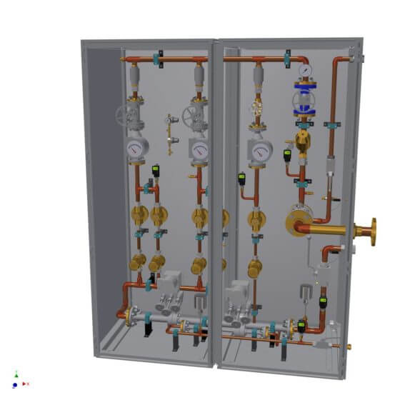 Static gas mixing system for the safe generation of up to 400 Nm³/h lean air incl. small quantities supply line