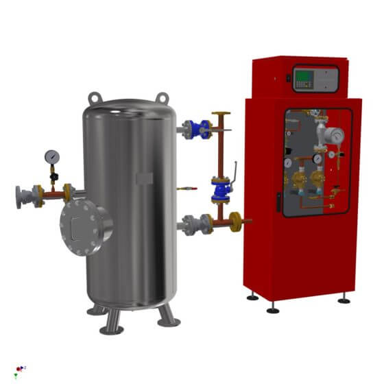 Static gas mixing system for the generation of 300 Nm³/h protective gas (N2/H2) for the hard metal production. System with 500 l buffer vessel and gas analyzer.