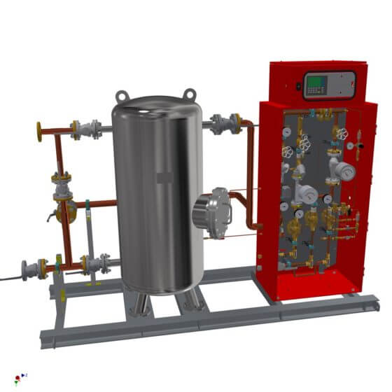 Static gas mixing system for the generation of 500 Nm³/h shield gas (N2/H2). System with 500 l buffer, gas analyzer, completely mounted on steel frame