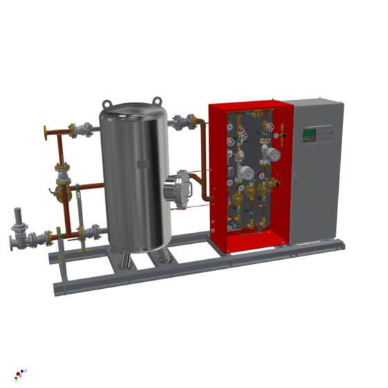 Static gas mixing system for the generation of 240 Nm³/h shield gas (N2/cracked gas). System with 500 l buffer, gas analyzer, completely mounted on steel frame