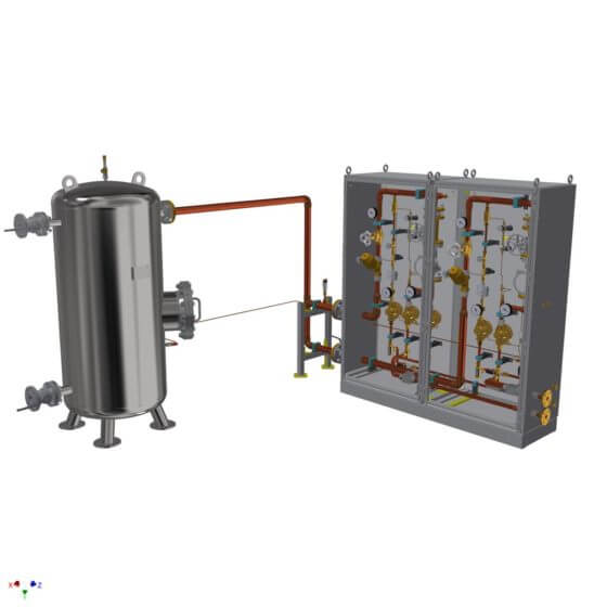 Redundant static gas mixing system for the supply with up to 600 Nm³/h shield gas incl. buffer vessel for a copper band furnace