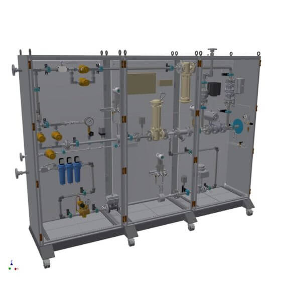 Static gas mixing system for the safe generation of up to 600 Nm³/h lean air incl. small quantities supply line; mobile for installation in ex-area