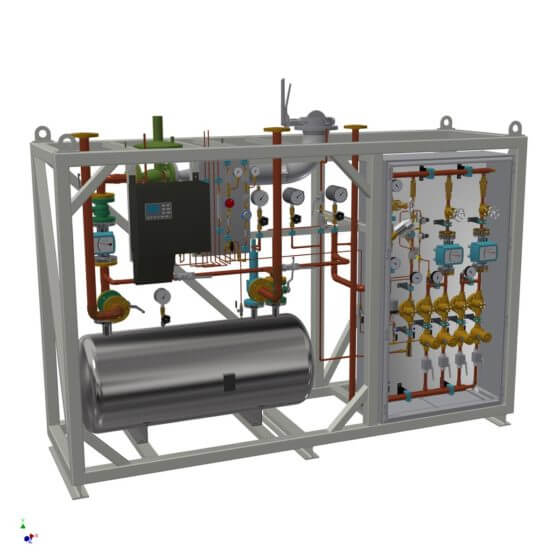 Static gas mixing plant for generation of protective gas (N2/H2). System with horizontal 500 l buffer, gas analyzer, completely assembled in a steel frame.