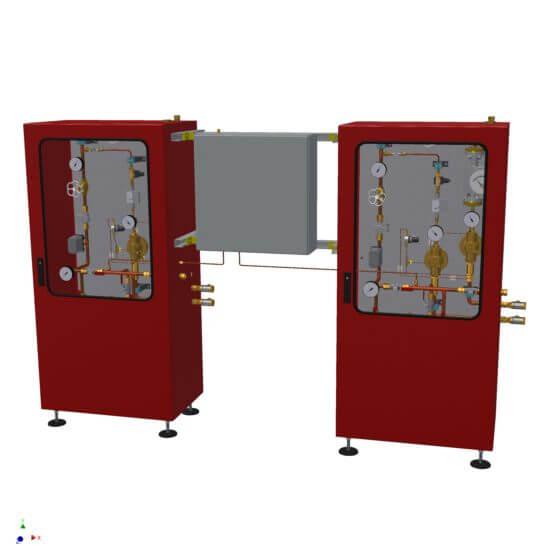 Zwei Serien-Gasmischer im Standgehäuse mit je einem Pufferbehälter und einem gemeinsamen Gasanalysator zur Qualitätsüberwachung der Gasgemische