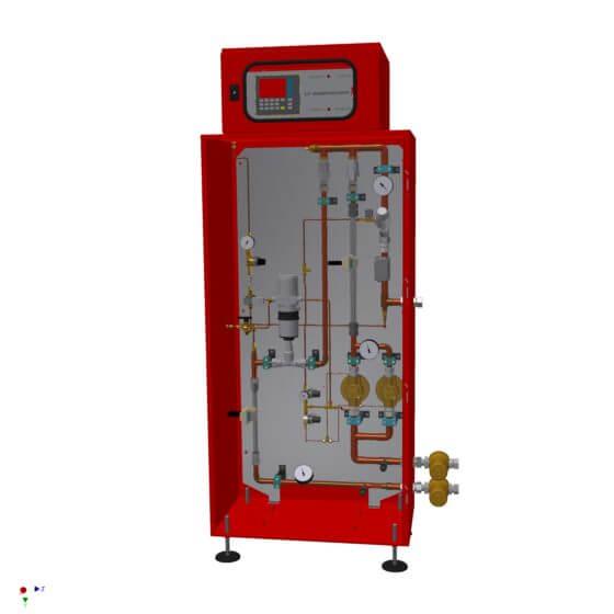 Vollautomatischer Gasmischer für 150 Nm³/h für die Erzeugung von Biergas (Gasmischung aus Kohlendioxid und Stickstoff) mit Gasanalysator
