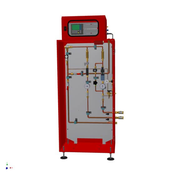 Fully automatic gas mixer for 6 standard cubic meter per hour gas mixture of nitrogen and hydrogen with gas analyzer with volume flow and outlet pressure control (including necessary space reserves for extensions)