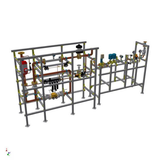 Gas control system for 30 m³/h Propane and 600 m³/h Oxygen to supply burner