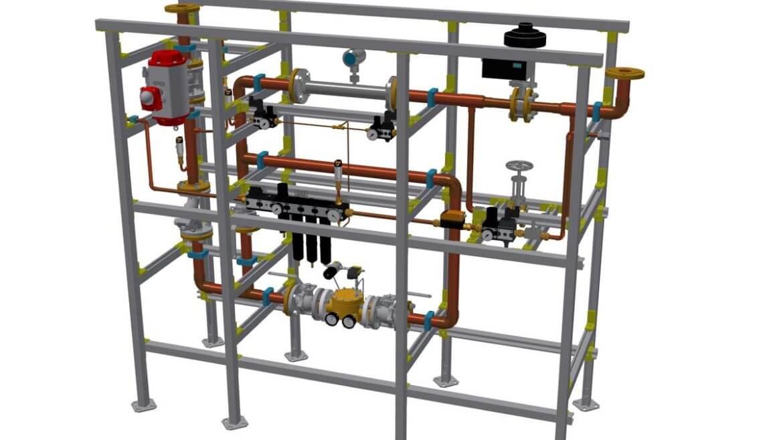 Regelstrecke für 600 Nm³/h Sauerstoff zur Versorgung eines Brenners am Zement-Drehrohrofen