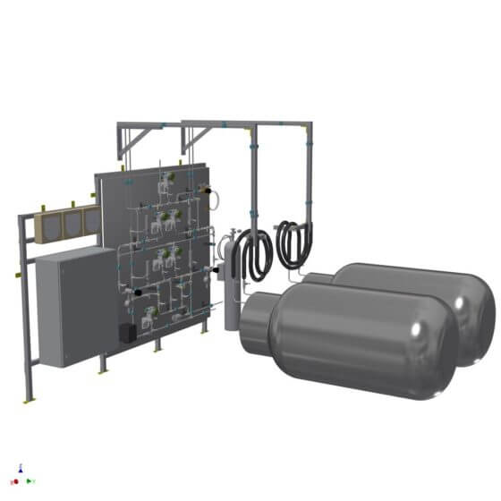 SO2 system for supplying the RKO of a flat glass production line with gaseous sulfur dioxide with up to 1,250 l/hr SO2
