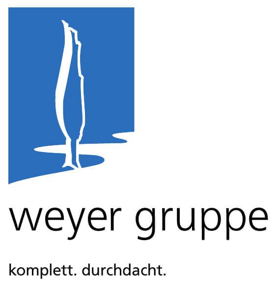 """Logo der weyer gruppe mit dem Claim """"komplett. durchdacht."""""""
