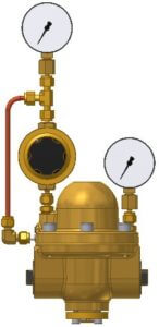 Type 4 with pilot pressure controller, inlet and outlet pressure gauge