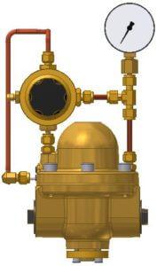 Pilotdruckregler, Hinterdruckrückführung, Hinterdruckmanometer
