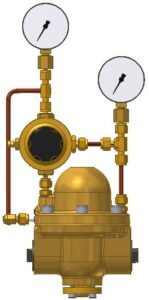 Type 8 with pilot pressure controller, external feedback for unmatched control accuracy, inlet and outlet pressure gauge