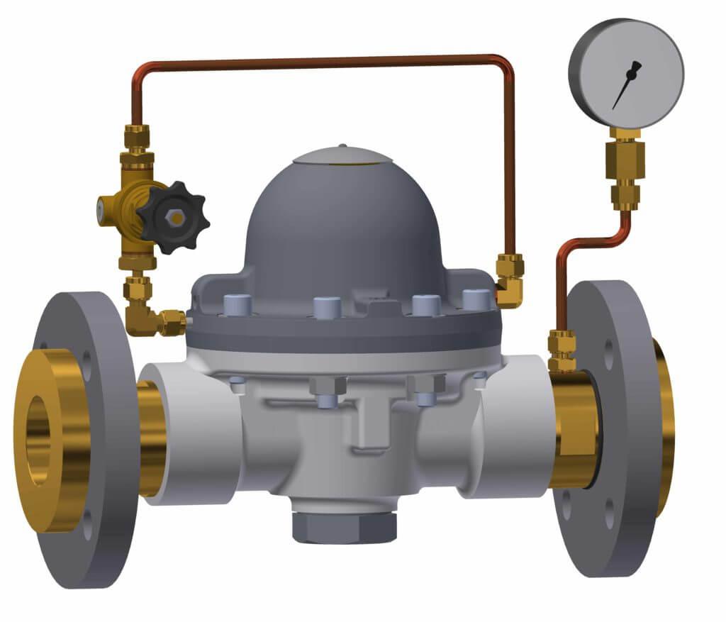 With pilot pressure regulator, outlet pressure gauge and flanges