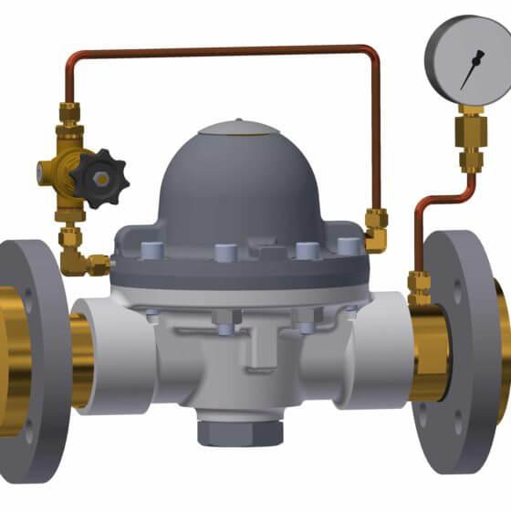 Domdruckregeleinheit mit Pilotdruckregler, Hinterdruckmanometer und Flanschen