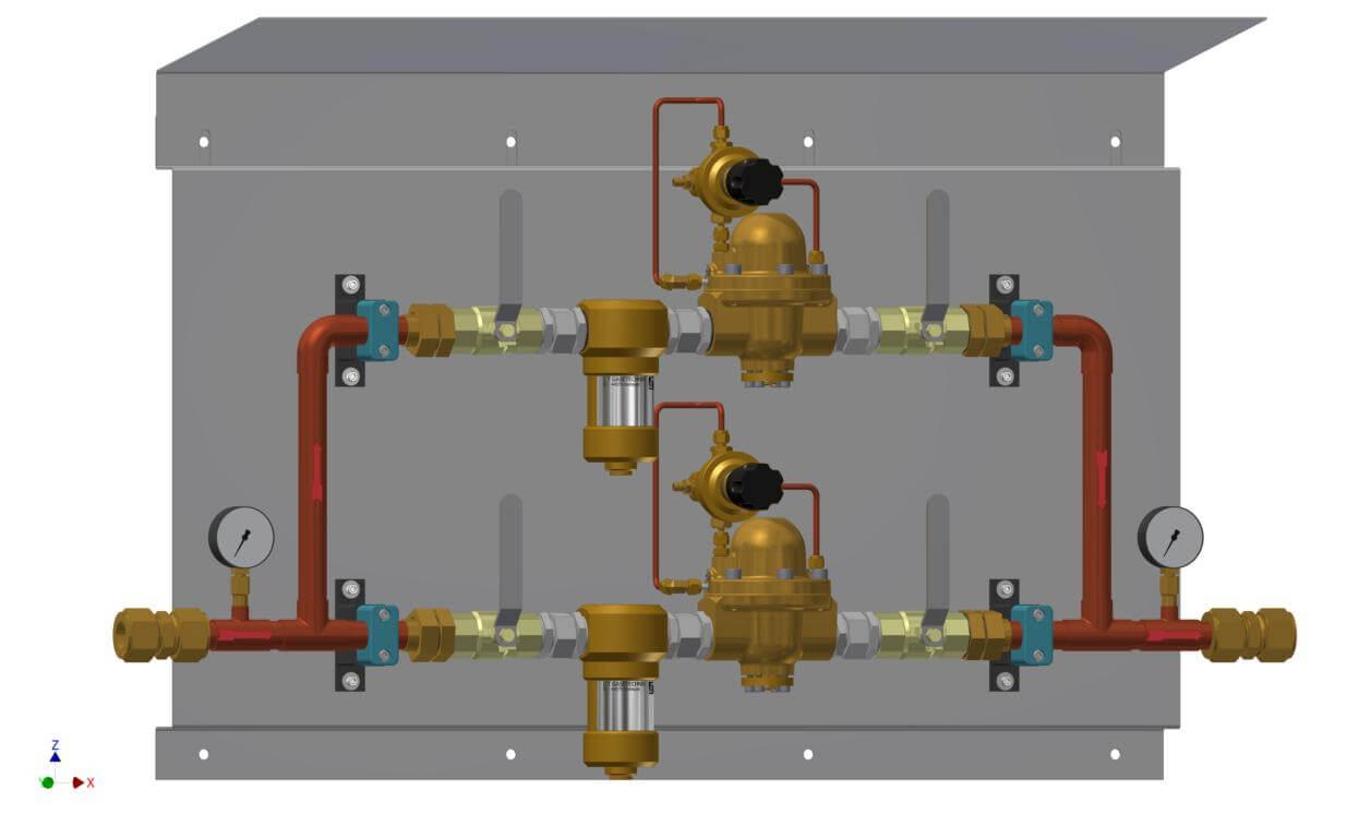 Technische Zeichnung einer Druckregelstrecke mit Bypass-Filter und Sicherheitsventil mit Dach