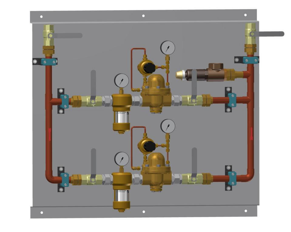 Technische Zeichnung einer Druckregelstrecke mit Bypass-Filter und Sicherheitsventil