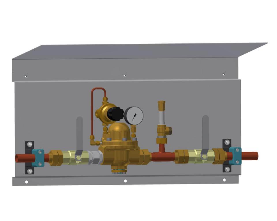 Technische Zeichnung einer Druckregelstrecke mit Sicherheitsventil mit Dach