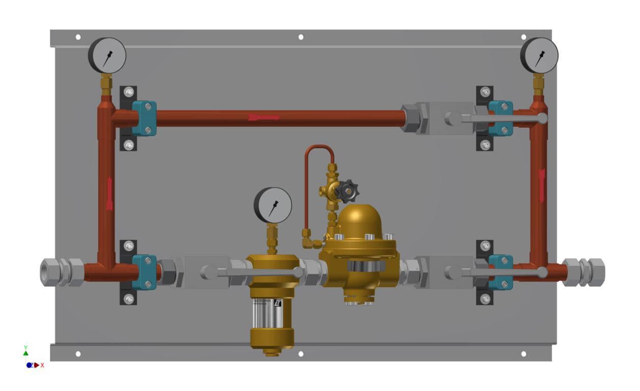 Technische Zeichnung einer Druckregelstrecke mit Bypass und Filter