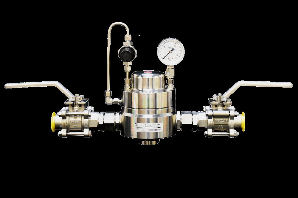 Edelstahl Domdruckregler mit Pilotdruckregler, Hinterdruckmanometer und Absperreinrichtungen