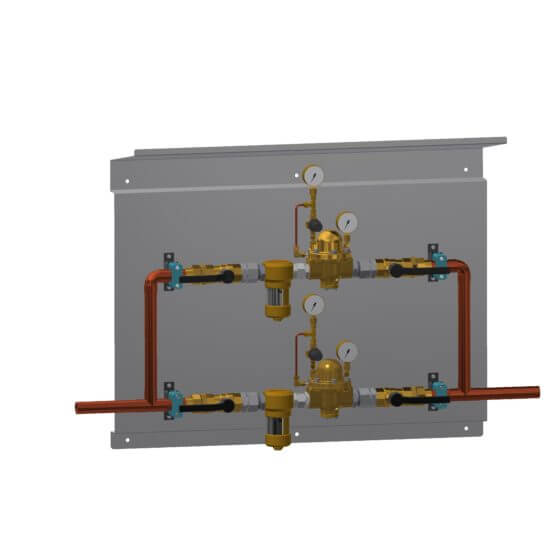 Redundante Druckregelstrecke mit Filtern und Dach