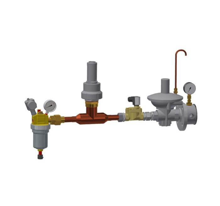 Two staged pressure control system with filter and safety valve